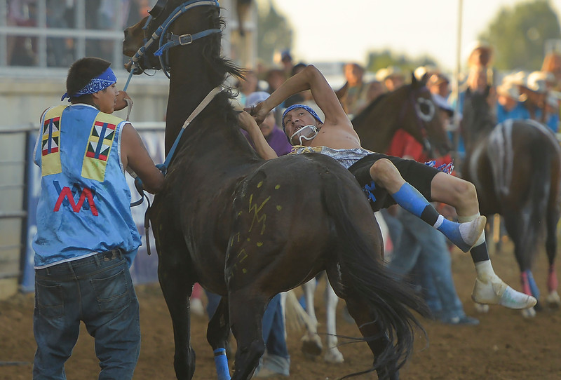 Justin Sheely | The Sheridan Press<br /> Warman jockey Zac Rock is tossed in a horse exchange for the 3rd heat of Indian Relay Race during the Sheridan WYO Rodeo Wednesday at the Sheridan County Fairgrounds.