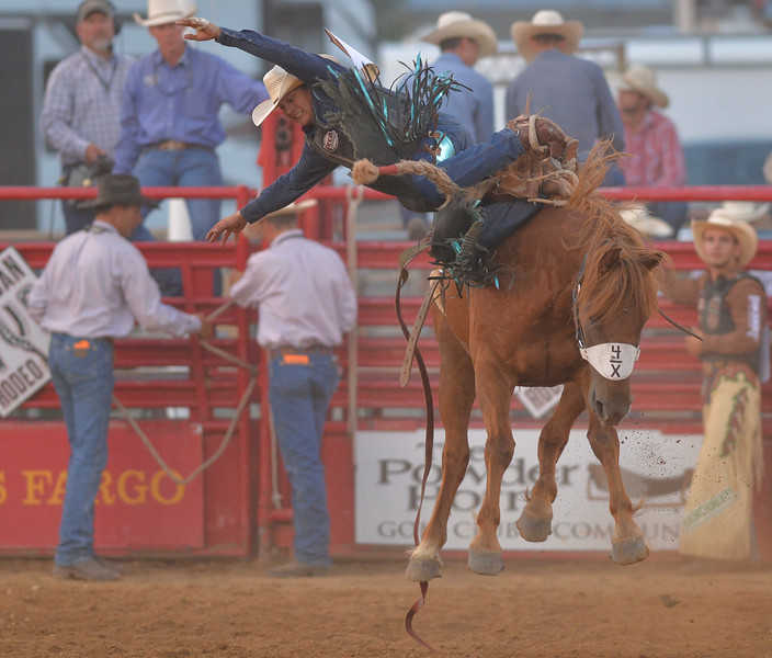 Justin Sheely | The Sheridan Press<br /> Roper Kiesner of Pipley, Oklahoma gets bucked off in saddle bronc riding during the Sheridan WYO Rodeo Wednesday at the Sheridan County Fairgrounds.