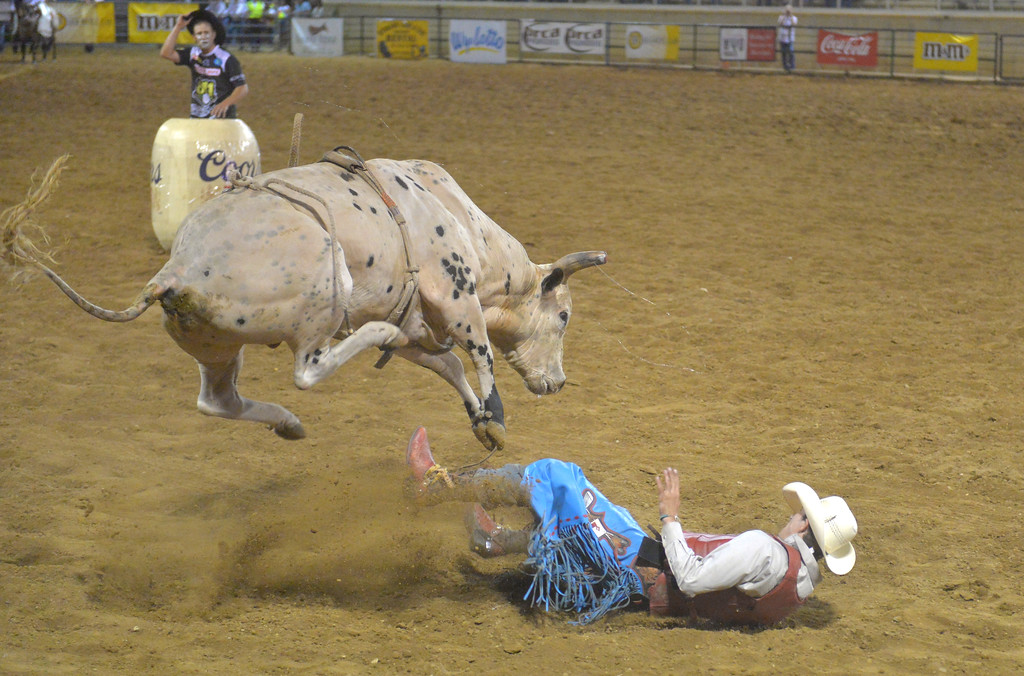 Justin Sheely   The Sheridan Press<br /> Roscoe Jarboe of New Plymouth, Idaho, is tossed by the bull during the Sheridan WYO Rodeo Wednesday at the Sheridan County Fairgrounds.