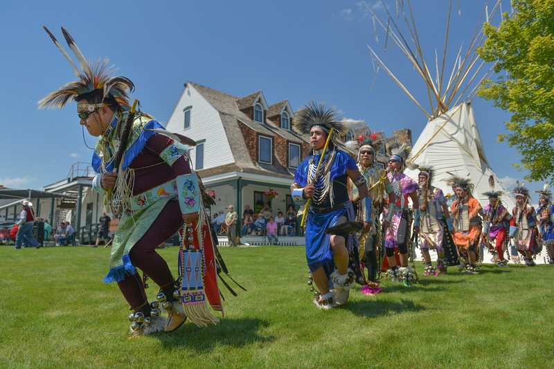 Justin Sheely | The Sheridan Press <br /> Dancers make the grand entry during the First People's Powwow Wednesday at the Historic Sheridan Inn. The culminating event is Friday after the Sheridan WYO Rodeo Parade.