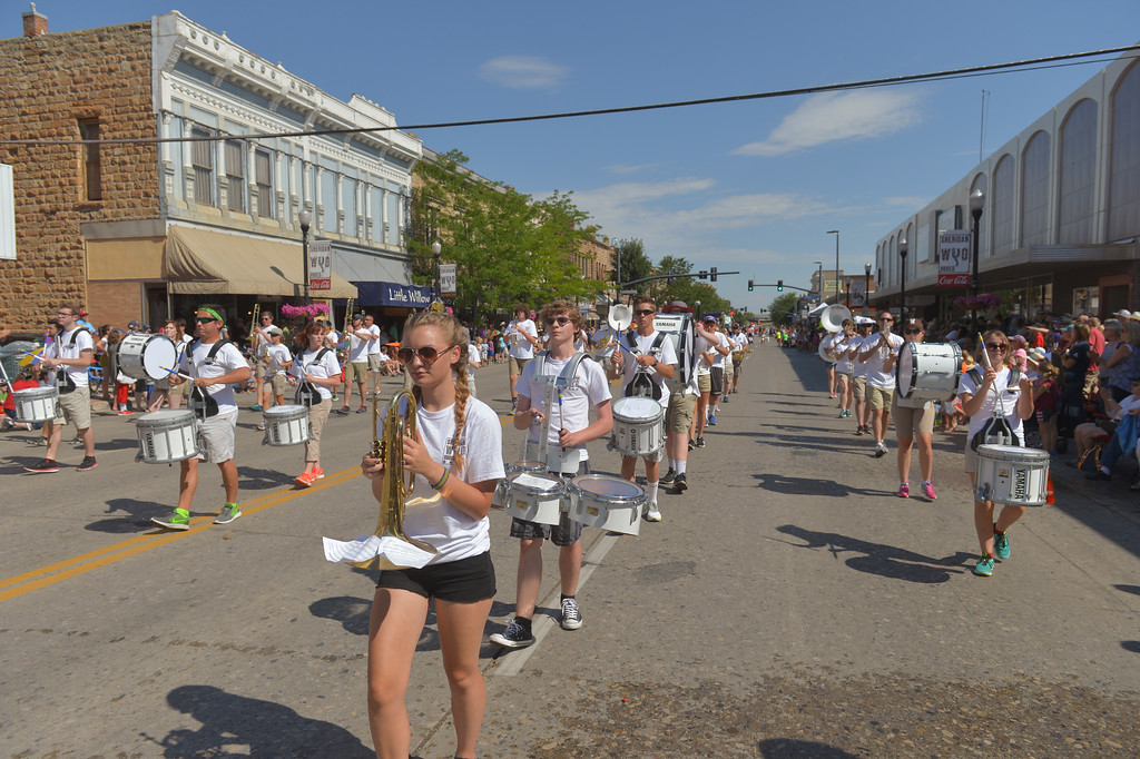 Justin Sheely | The Sheridan Press<br /> Members of the Sheridan WYO Rodeo Band march during the Sheridan WYO Rodeo Parade Friday morning on Main Street.