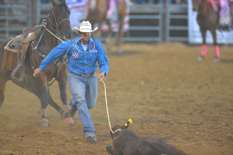 Justin Sheely | The Sheridan Press<br /> Cade Swor of Winnie, Texas, competes in tie-down during the Sheridan WYO Rodeo.