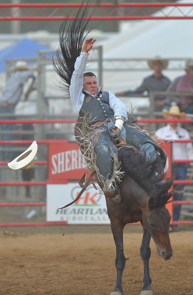 Justin Sheely | The Sheridan Press<br /> Buck Lunak of Cut Bank, Montana, competes in bareback riding during the Sheridan WYO Rodeo Friday at the Sheridan County Fairgrounds.
