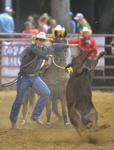 Justin Sheely | The Sheridan Press<br /> Tyler Milligan of Oklahoma competes in tie-down roping during the Sheridan WYO Rodeo Friday at the Sheridan County Fairgrounds.