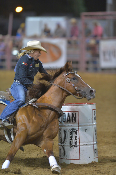 Justin Sheely   The Sheridan Press<br /> Sabra O'Quinn of Ocala, Florida, competes in barrel racing during the Sheridan WYO Rodeo Friday at the Sheridan County Fairgrounds.