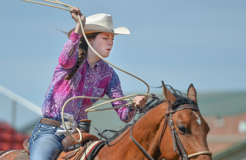 Justin Sheely | The Sheridan Press<br /> Rachel Retherford of Casper, Wyoming does breakaway roping during the Sheridan High School Rodeo at the Sheridan County Fairgrounds Saturday, May 26, 2018.
