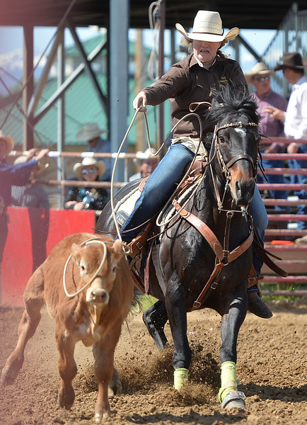 Justin Sheely | The Sheridan Press<br /> Sadie Sturman of Lusk, Wyoming, misses a catch in breakaway roping during the Sheridan High School Rodeo at the Sheridan County Fairgrounds Saturday, May 26, 2018.
