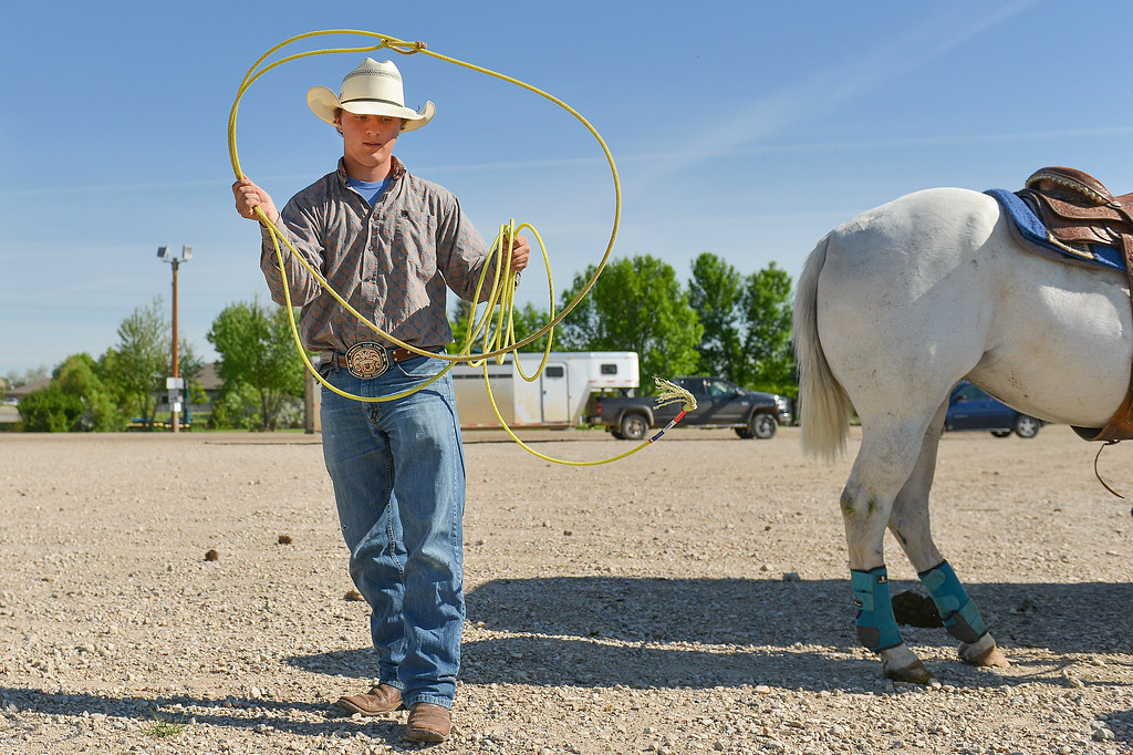 Justin Sheely | The Sheridan Press<br /> Thunder Basin High School sophomore Blane Mills practices his roping motion during the Sheridan High School Rodeo at the Sheridan County Fairgrounds Saturday, May 26, 2018.