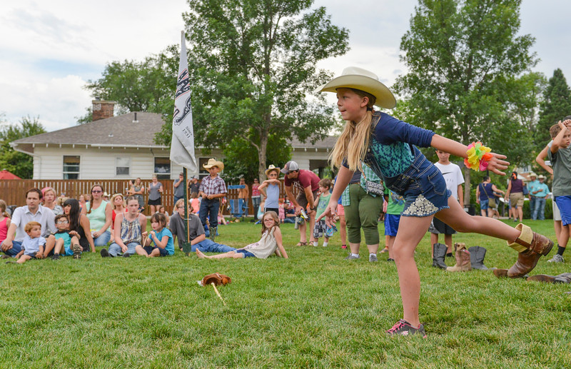 Justin Sheely | The Sheridan Press<br /> Eleven-year-old Sophie Hodges winds up during the Sheridan WYO Rodeo Boot Kickoff at Whitney Commons Park Tuesday, July 10, 2018.