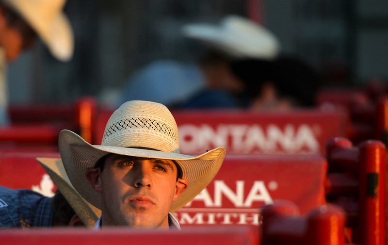Justin Sheely | The Sheridan Press<br /> Saddle bronc rider Jade Blackwell of Rapid City, South Dakota, sits on his ride during the Sheridan WYO Rodeo at the Sheridan County Fairgrounds Wednesday, July 11, 2018.