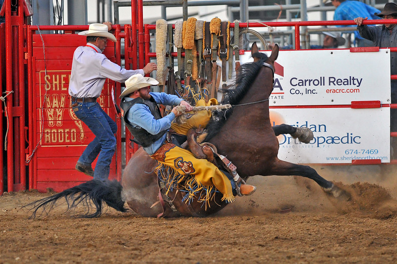 Mike Pruden | The Sheridan Press<br /> Dean Wadsworth hangs on as his bronc falls to the dirt during the Sheridan WYO Rodeo at the Sheridan County Fairgrounds Wednesday, July 11, 2018.