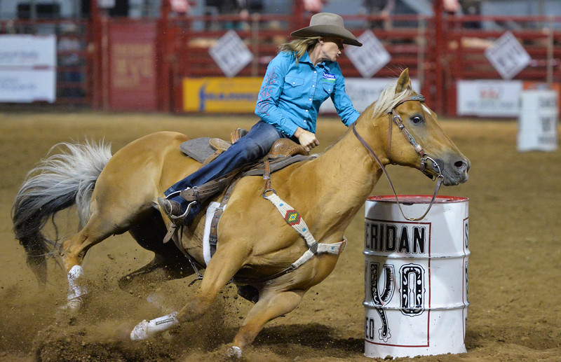 Justin Sheely | The Sheridan Press<br /> Nikki Hansen of Dickinson, North Dakota, competes in barrel racing during the Sheridan WYO Rodeo at the Sheridan County Fairgrounds Wednesday, July 11, 2018.