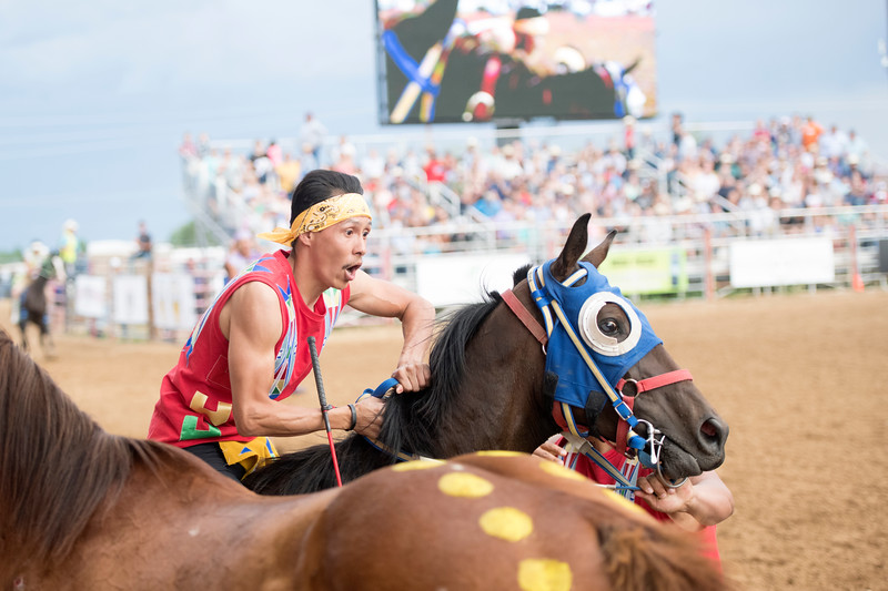 Ryan Patterson | The Sheridan Press<br /> Justin White Clay, the jockey for Cedar Mountain, comptes in the World Championship Indian Relay Races during the Sheridan WYO Rodeo Saturday, July 13, 2019.