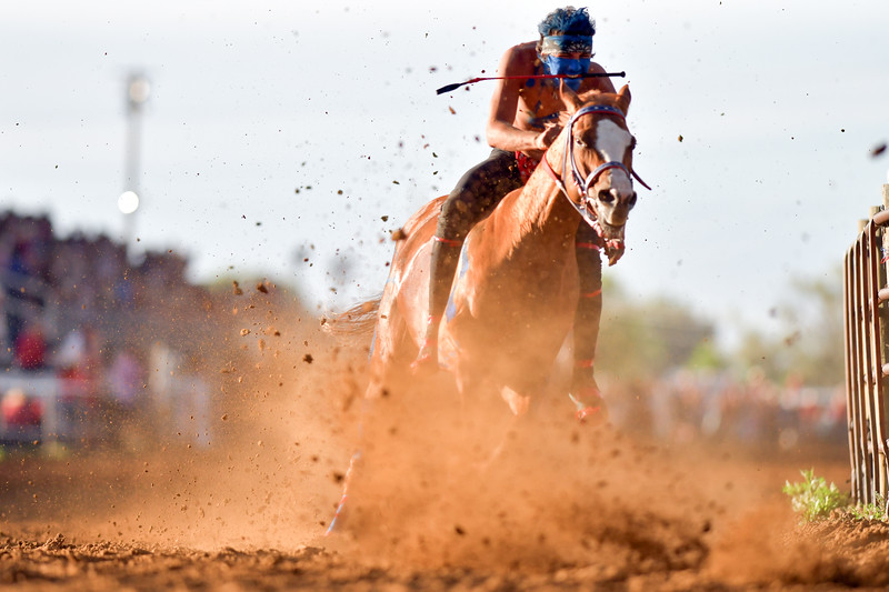 Matthew Gaston | The Sheridan Press<br>The dirt flies as Darren Charges Strong accelerates to break neck speeds around turn one of the track during the final heat of the Indan Relay Races at the Sheridan WYO Rodeo Friday, July 12, 2019.