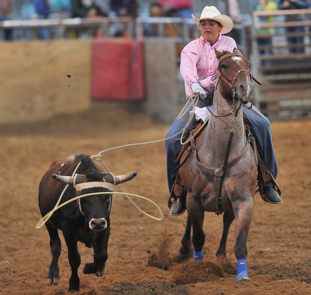 Williams Wheaton casts his rope during Senior Breakaway Roping in the Sheridan County Rodeo Friday night at the Sheridan County Fairgrounds. (Justin Sheely/The Sheridan Press)