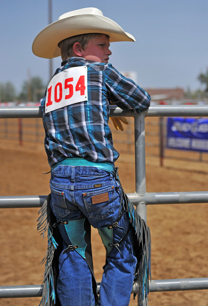 Cooper Garber stands on the fence during Junior Calf Roping Saturday afternoon at the Sheridan County Fairgrounds.(Justin Sheely/The Sheridan Press)