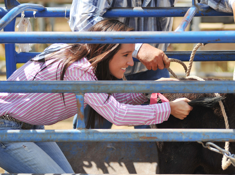 Kylee Cahoy gives a calf a push during the Husband and Wife Ribbon Roping competition at the Sheridan County Rodeo Saturday afternoon at the Sheridan County Fairgrounds. (Justin Sheely/The Sheridan Press)