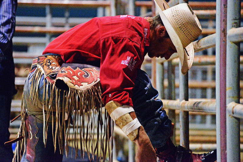 Gillette's Bobby Welsh prepares for his bull ride Friday night at the Sheridan-Wyo-Rodeo. His 89-point ride split this year's title. (Brad Estes/The Sheridan Press)