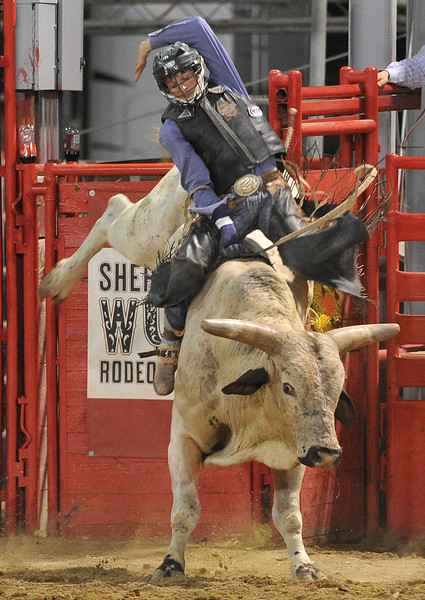 Cole Echols, of Elm Grove, La., rides Thomas the Train for a high score of 89 in Thursday's Bull Riding during the Sheridan-Wyo-Rodeo at the Sheridan Fairgrounds. (Justin Sheely/The Sheridan Press)