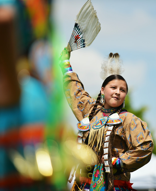Fourteen-year-old McKenzie Archambeau of Lame Deer, Montana, dances during the powwow Friday afternoon at the historic Sheridan Inn. The Sheridan Press|Justin Sheely.