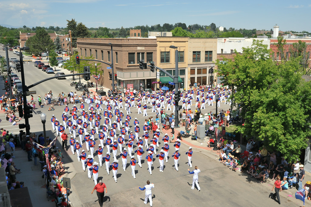 The Wyoming All State Band marches around the corner on East Works and Main Street during the 2014 Sheridan WYO Rodeo Parade Friday morning. The Sheridan Press|Justin Sheely.