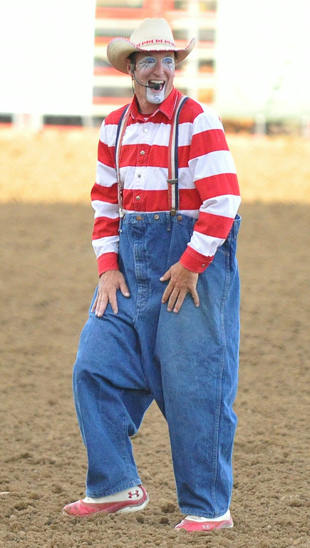 Crash Cooper warms up the crowd at the beginning of the Rodeo on Wednesday at the Sheridan County Fairgrounds. The Sheridan Press|Mike Pruden