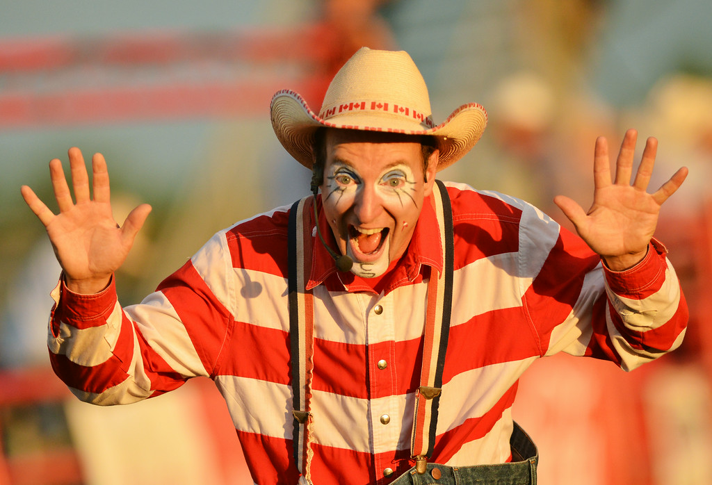 Rodeo clown Crash Cooper walks the arena floor during Thursday's Sheridan WYO Rodeo event. The Sheridan Press Justin Sheely.