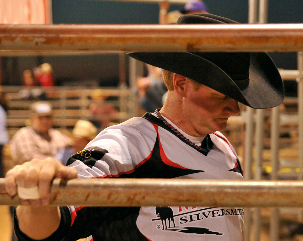 Bullfighter Al Sandvold mentally prepares before he steps into the arena at the Sheridan WYO Rodeo on Thursday at the Sheridan County Fairgrounds. The Sheridan Press|Mike Pruden