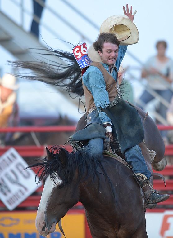 Mason Johnston of Huntsville, Texas, competes during the Sheridan WYO Rodeo Saturday night at the Sheridan County Fairgrounds. Justin Sheely/The Sheridan Press.