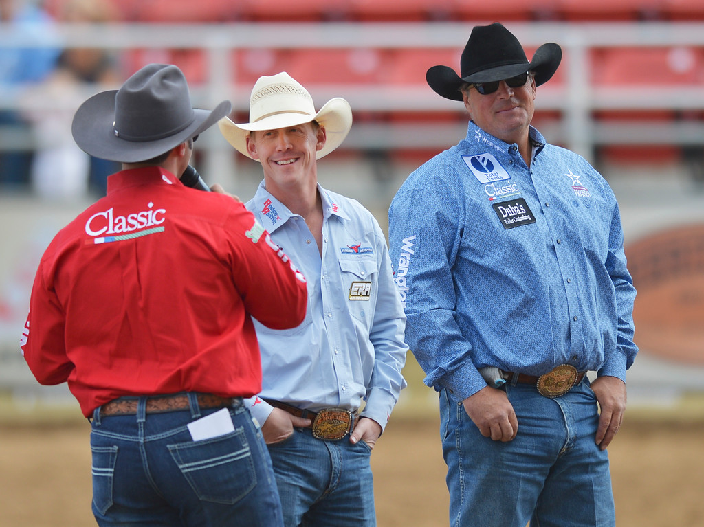 Justin Sheely | The Sheridan Press<br /> Local ERA athletes Chet Johnson of Sheridan, left, and Jhett Johnson of Casper are interviewed prior to the start of the show during the Cowboy State Elite Rodeo Athletes premier tour at the Sheridan County Fairgrounds in Sheridan. Sheridan was the only stop in Wyoming for the premier tour of the ERA rodeo, which is comprised of some of the most prestigious rodeo athletes.