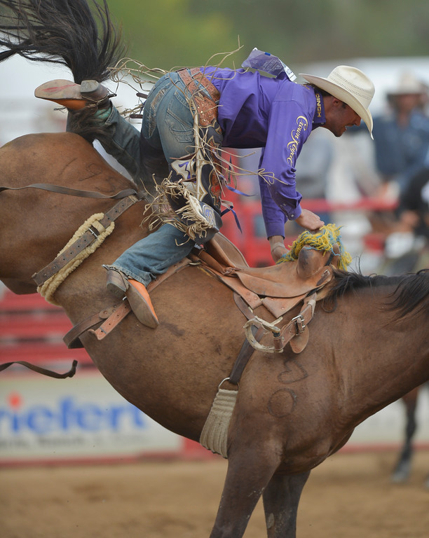Justin Sheely | The Sheridan Press<br /> Tyler Corrington of Hastings, Minnesota, just cannot hold on in the saddle bronc riding event during the Cowboy State Elite Rodeo Athletes premier tour at the Sheridan County Fairgrounds in Sheridan. Sheridan was the only stop in Wyoming for the premier tour of the ERA rodeo, which is comprised of some of the most prestigious rodeo athletes.