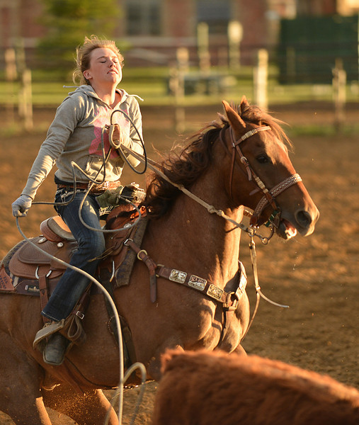 Cricket Cunningham reacts after missing the calf in breakaway roping during the Sheridan Cowgirls Association Rodeo Thursday evening at the Sheridan County Fairgrounds