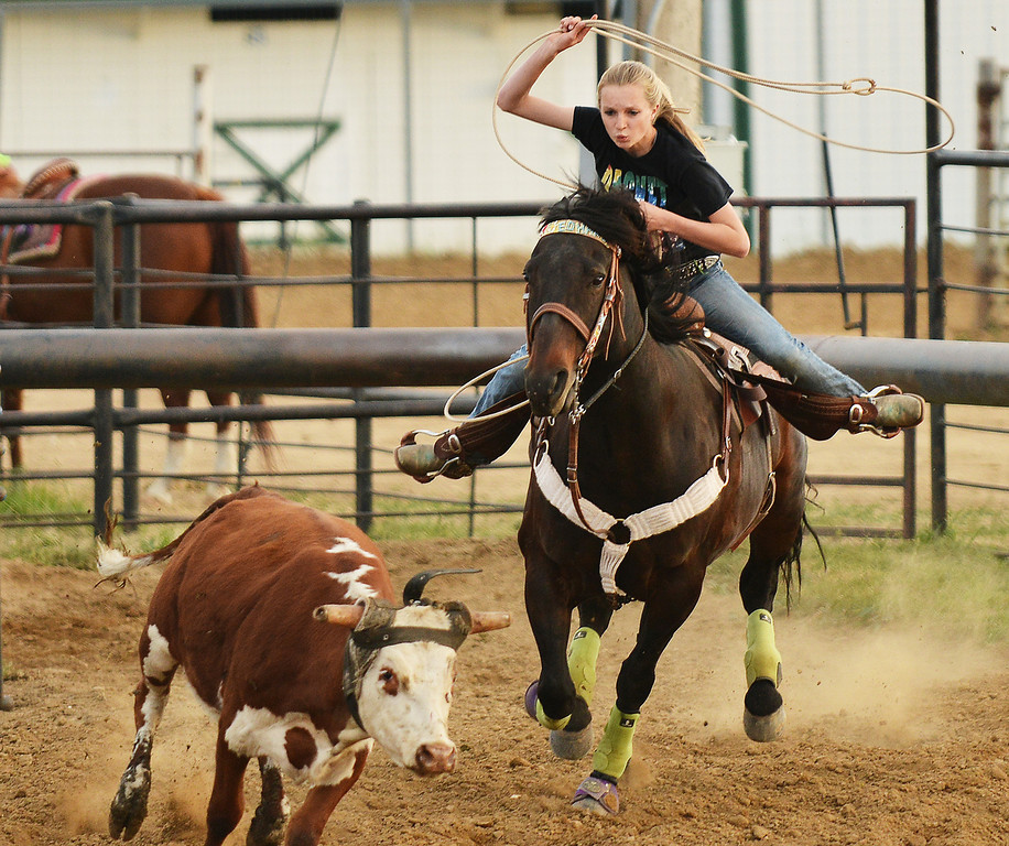 Kade Koltiska competes in break away roping during the Sheridan Cowgirls Association Rodeo Thursday evening at the Sheridan County Fairgrounds. Koltiska will be going to the National Junior High School Rodeo in Des Moines, Iowa, later this month.