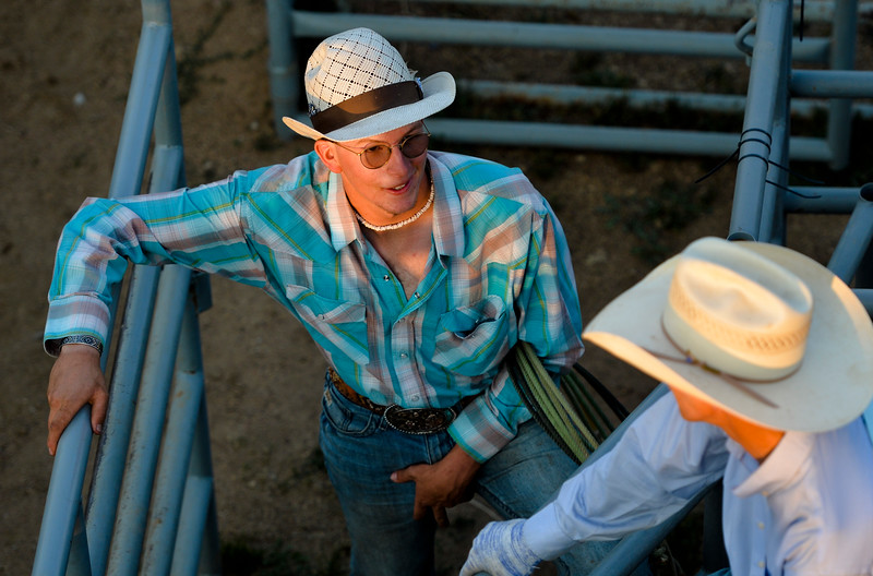 Justin Sheely | The Sheridan Press<br /> Blaine Miranda visits during slack at the Sheridan County Rodeo at the Sheridan County Fairgrounds Friday, Aug. 10, 2018.