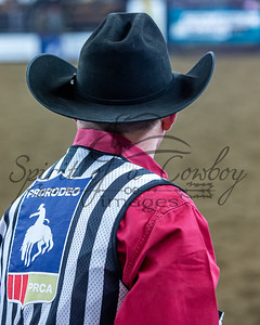 Bobby Davis judging first round of Steer Wrestling during the CRC Finals