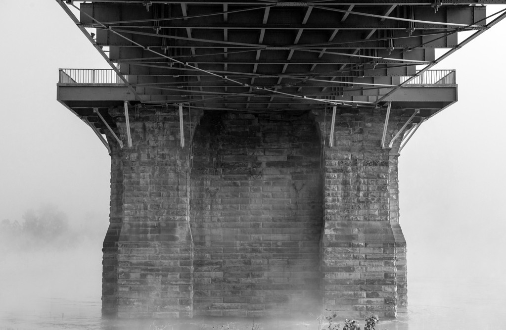 Roebling Suspension Bridge Base B&W