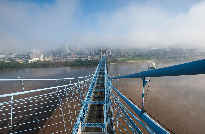 Roebling Suspension Bridge Lifting Fog