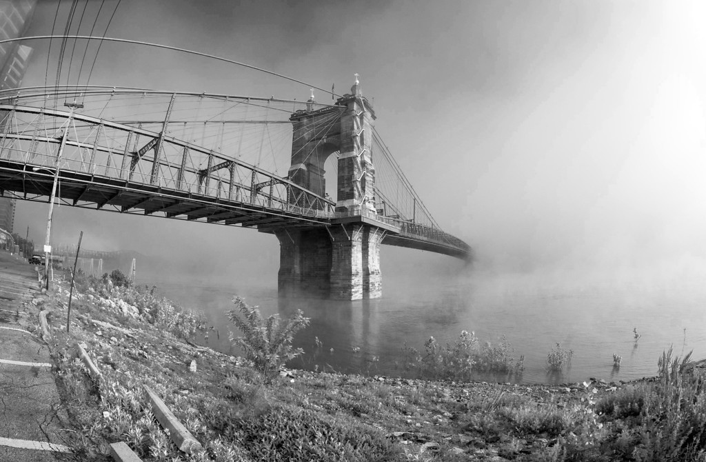 Roebling Suspension Bridge B&W Foggy