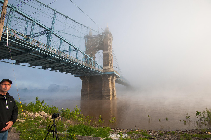 Roebling Suspension Bridge In The Fog