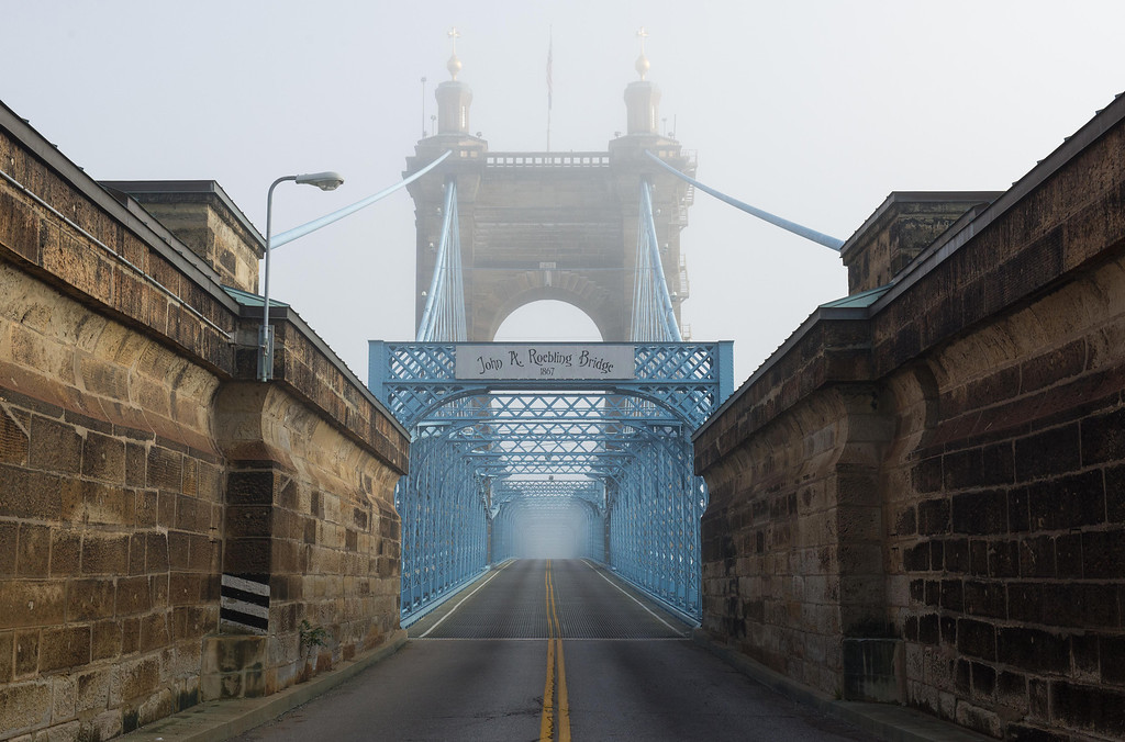 Roebling Suspension Bridge Fog
