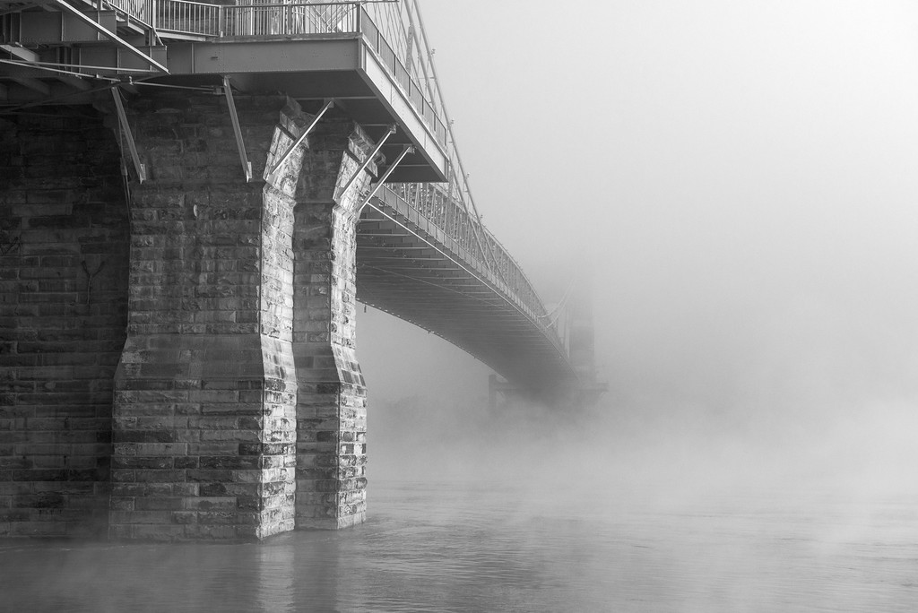 Roebling Suspension Bridge B&W Ohio River