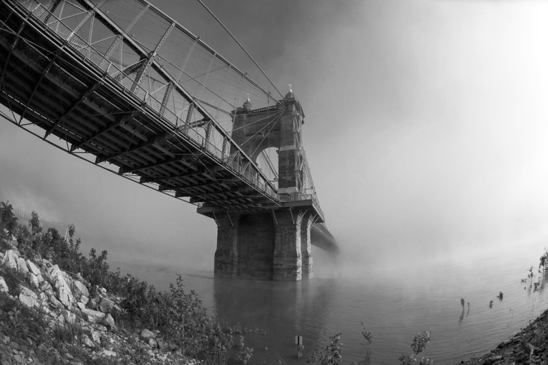 Roebling Suspension Bridge B&W Fog