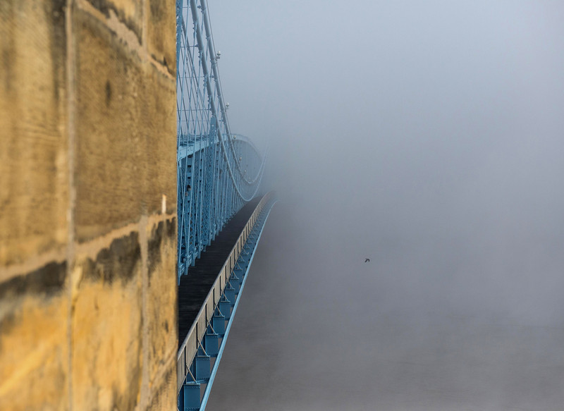 Roebling Suspension Bridge Into The Fog