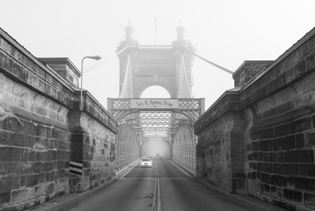 Roebling Suspension Bridge Drive B&W