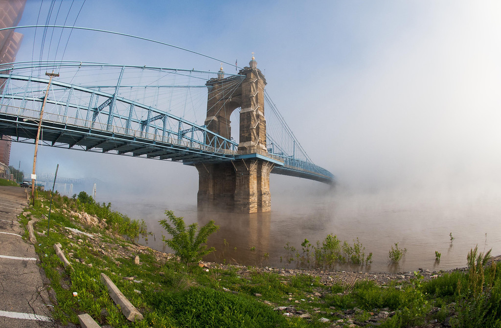 Roebling Suspension Bridge Morning Fog