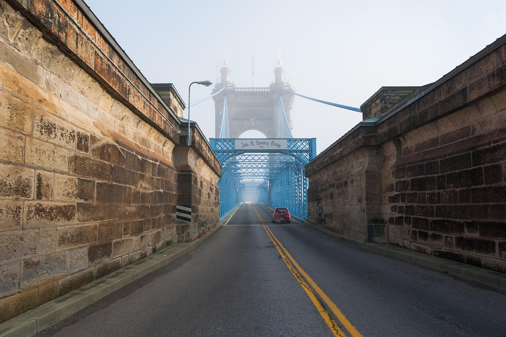 Roebling Suspension Bridge Heading North
