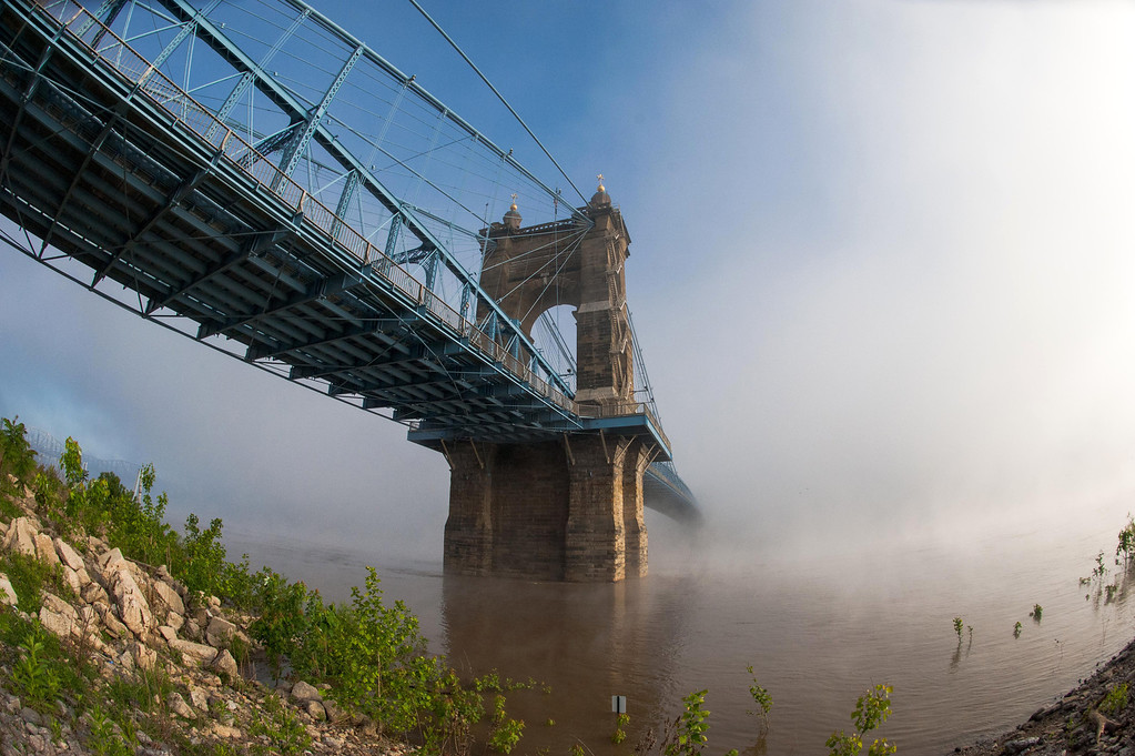 Roebling Suspension Bridge Foggy