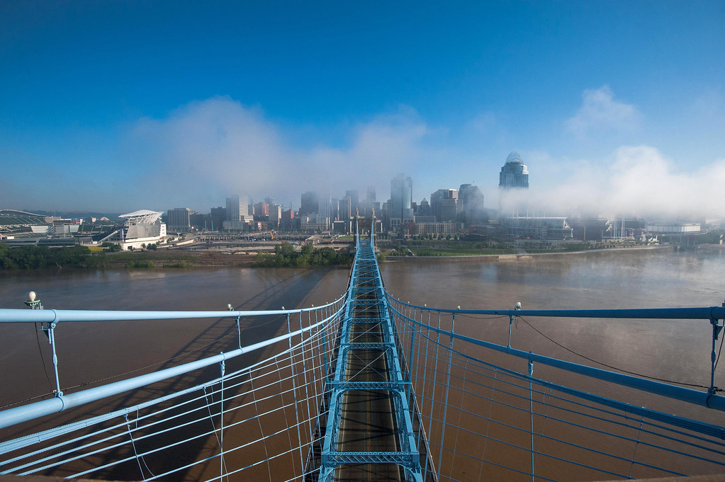 Roebling Suspension Bridge May Fog