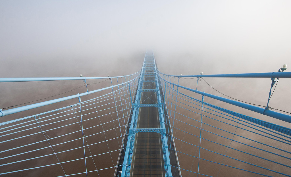 Top Down Roebling Suspension Bridge Into the Fog
