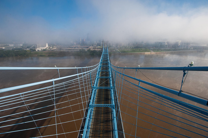 Roebling Suspension Bridge Morning Mist Fog